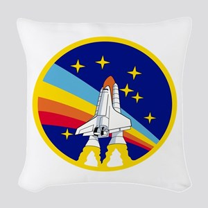 Rainbow Rocket Woven Throw Pillow