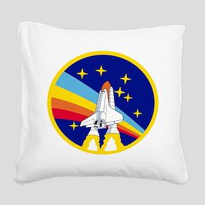 Rainbow Rocket Square Canvas Pillow