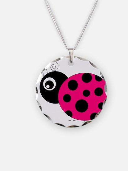 Hot Pink and Black Ladybug Necklace