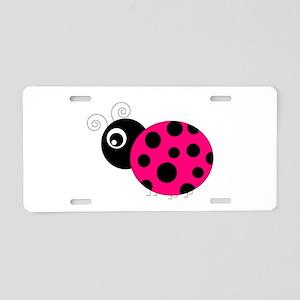 Hot Pink and Black Ladybug Aluminum License Plate
