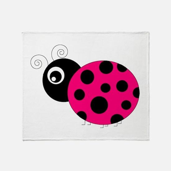 Hot Pink and Black Ladybug Throw Blanket