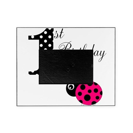 1st Birthday Girl Polka Dot Pink Ladybug Picture Frame By