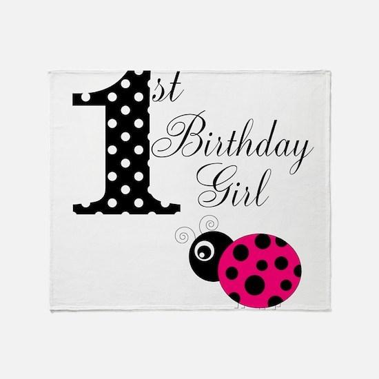 1st Birthday Girl Polka Dot Pink Ladybug Throw Bla