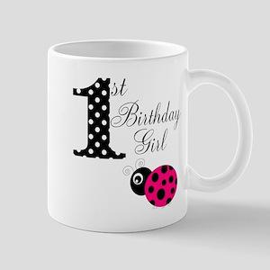 1st Birthday Girl Polka Dot Pink Ladybug Mugs