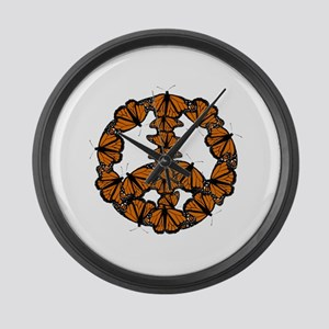 Black and Orange Butterfly Peace Large Wall Clock