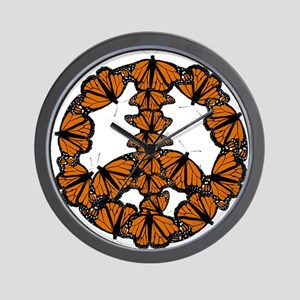 Black and Orange Butterfly Peace Wall Clock