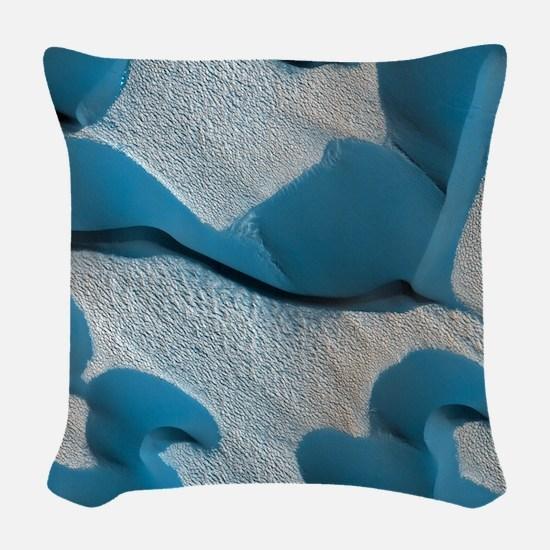 Mars Blue Dunes Woven Throw Pillow
