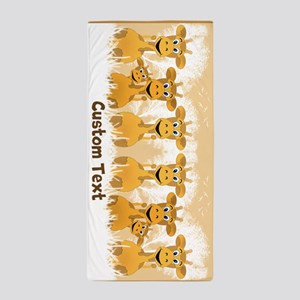 Personalized Giraffes Beach Towel