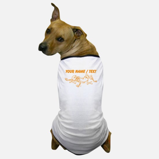 Custom Orange Broken Skeleton Dog T-Shirt