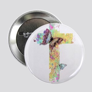 "Pastel floral cross and butterflies 2.25"" Button"