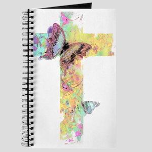 Pastel floral cross and butterflies Journal