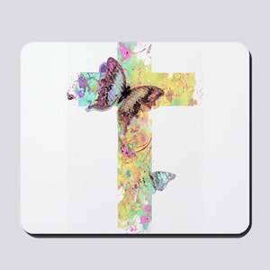 Pastel floral cross and butterflies Mousepad