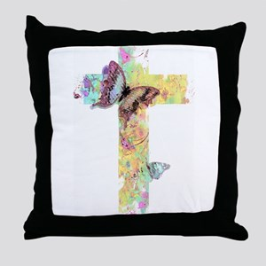 Pastel floral cross and butterflies Throw Pillow