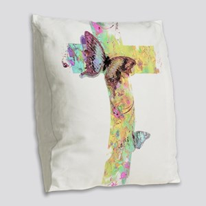Pastel floral cross and butterflies Burlap Throw P