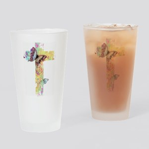 Pastel floral cross and butterflies Drinking Glass