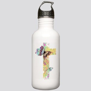 Pastel floral cross and butterflies Water Bottle