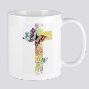 Pastel floral cross and butterflies Mugs