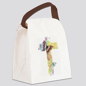 Pastel floral cross and butterflies Canvas Lunch B
