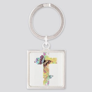 Pastel floral cross and butterflies Keychains