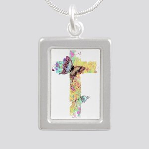 Pastel floral cross and butterflies Necklaces