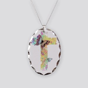Pastel floral cross and butterflies Necklace