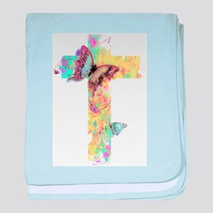 Pastel floral cross and butterflies baby blanket