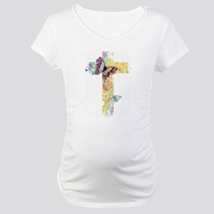 Pastel floral cross and butterflies Maternity T-Sh