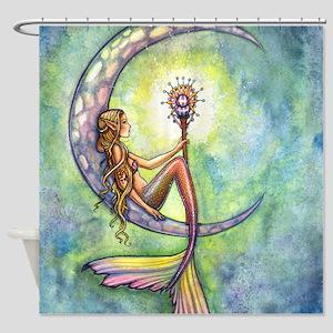 Mermaid Moon Watercolor Fantasy Art Shower Curtain
