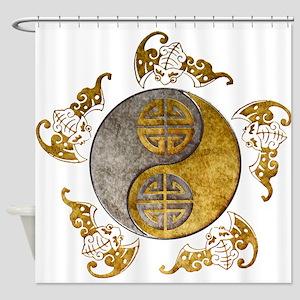 Harvest Moons Bats Yin Yang Shower Curtain
