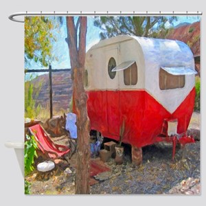 Vintage Red Fifties Camper Shower Curtain