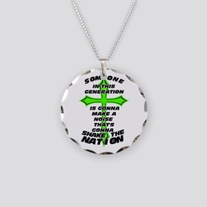 Shake The Nation Necklace Circle Charm