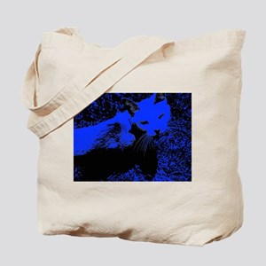 Blue Urban Jungle Cat Tote Bag