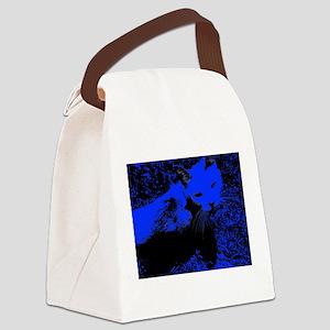 Blue Urban Jungle Cat Canvas Lunch Bag