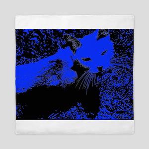 Blue Urban Jungle Cat Queen Duvet