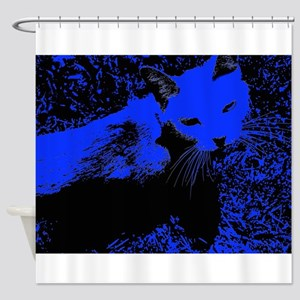 Blue Urban Jungle Cat Shower Curtain