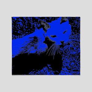 Blue Urban Jungle Cat Throw Blanket