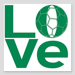 "Nigerian LOVE Soccer Square Car Magnet 3"" x 3"""