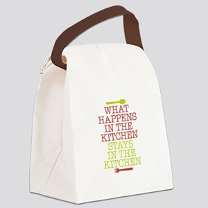 What Happens in the Kitchen Canvas Lunch Bag