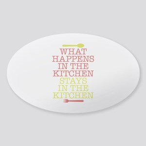 What Happens in the Kitchen Sticker (Oval)