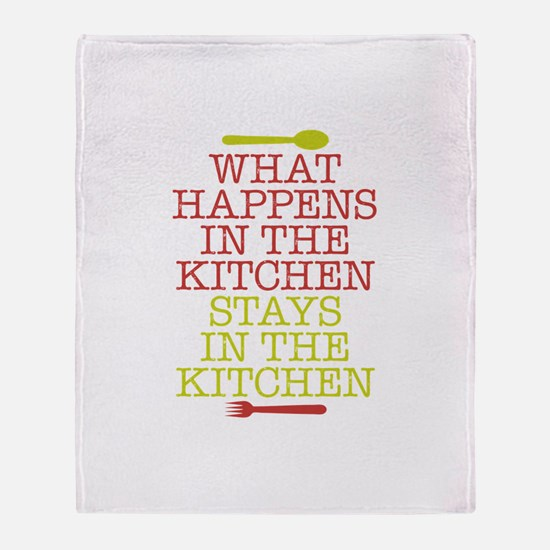 What Happens in the Kitchen Throw Blanket