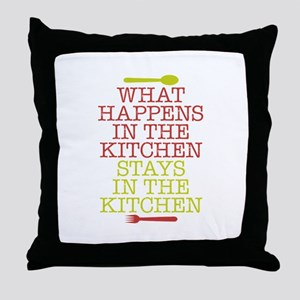 What Happens in the Kitchen Throw Pillow
