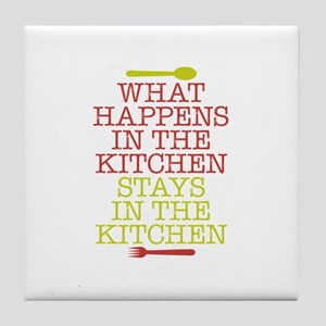 What Happens in the Kitchen Tile Coaster