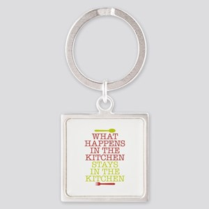 What Happens in the Kitchen Square Keychain