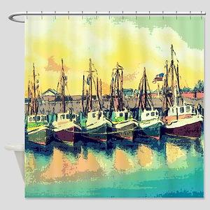 Vintage Shrimp Boat Postcard Shower Curtain