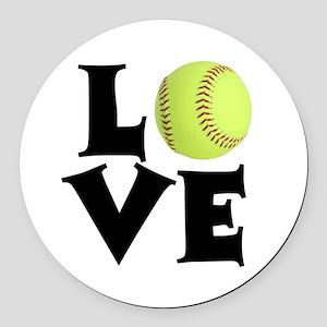 Love - Softball Round Car Magnet