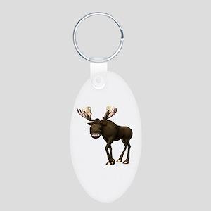 Moose Aluminum Oval Keychain