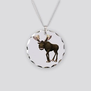 Moose Necklace Circle Charm