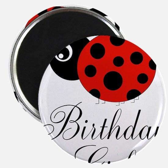 Red and Black Birthday Girl Ladybug Magnets
