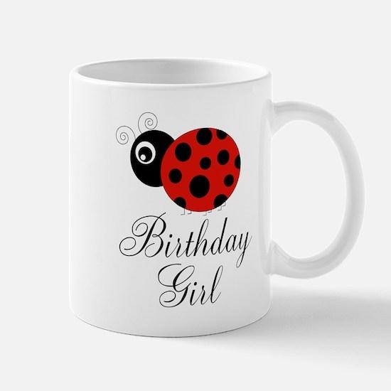 Red and Black Birthday Girl Ladybug Mugs