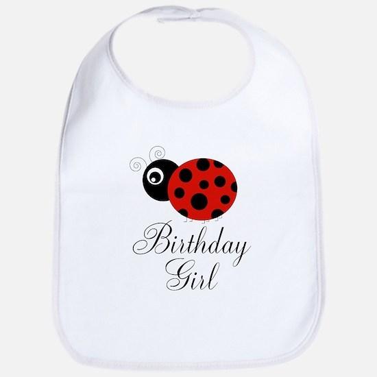 Red and Black Birthday Girl Ladybug Bib